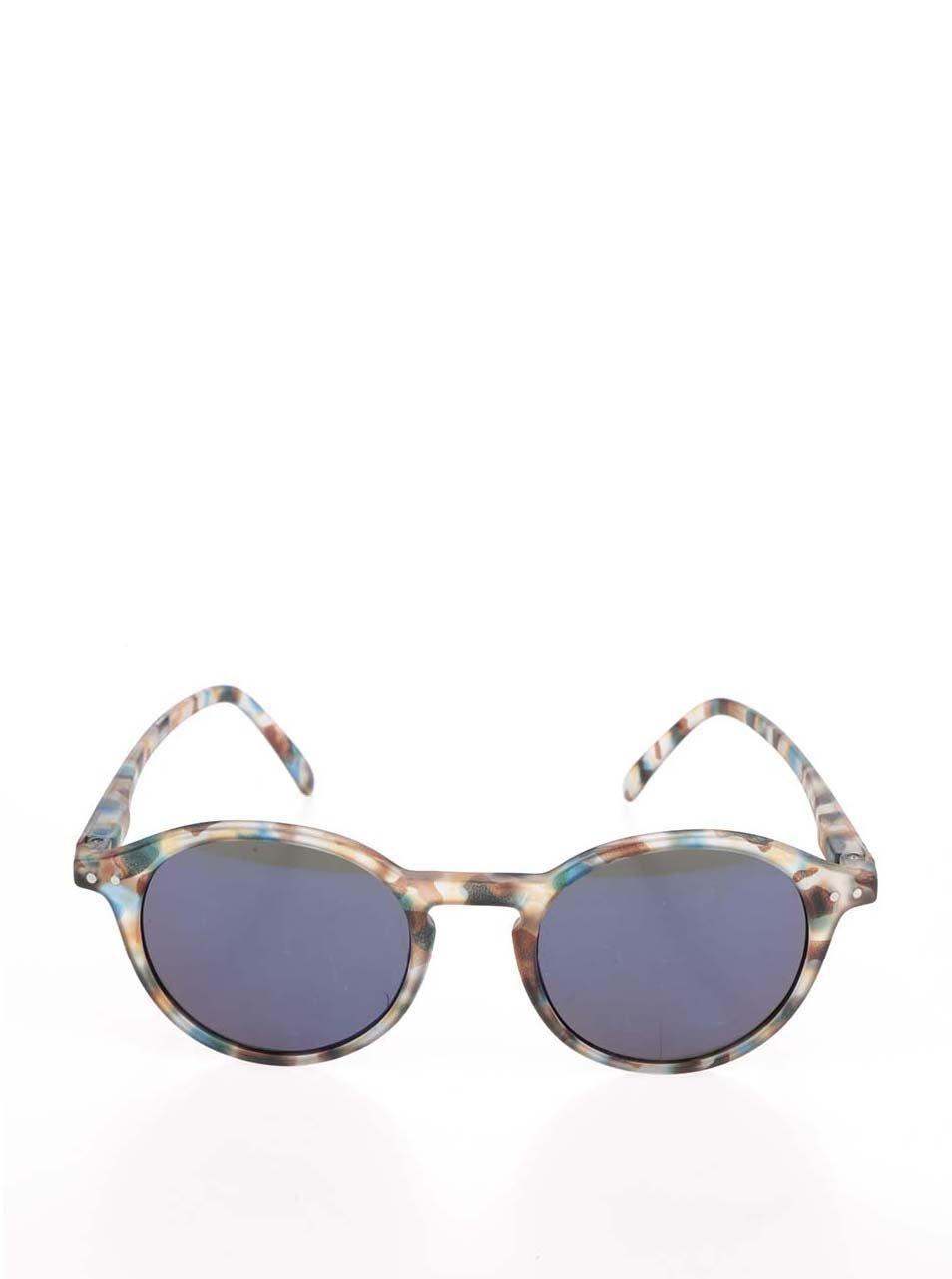0be25f2ca Modro-hnedé unisex slnečné okuliare so zrkadlovými modrými sklami IZIPIZI #D  ...