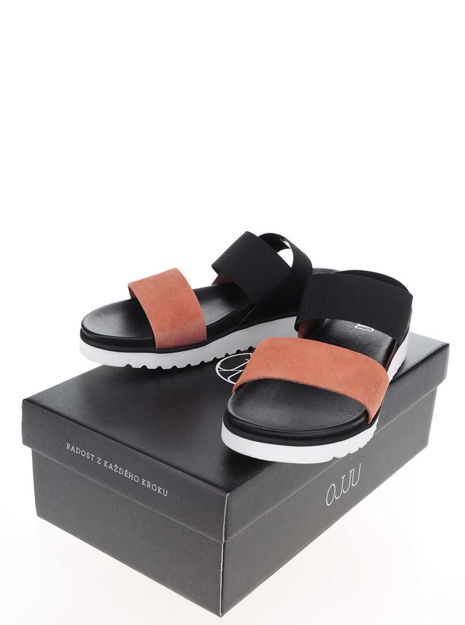 8fbec7edefdd Oranžovo-čierne dámske sandále OJJU ...