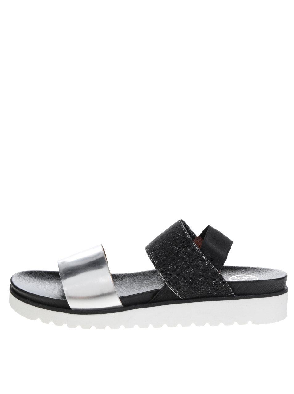 a1edc9622770 Dámske sandále v strieborno-čiernej farbe OJJU ...