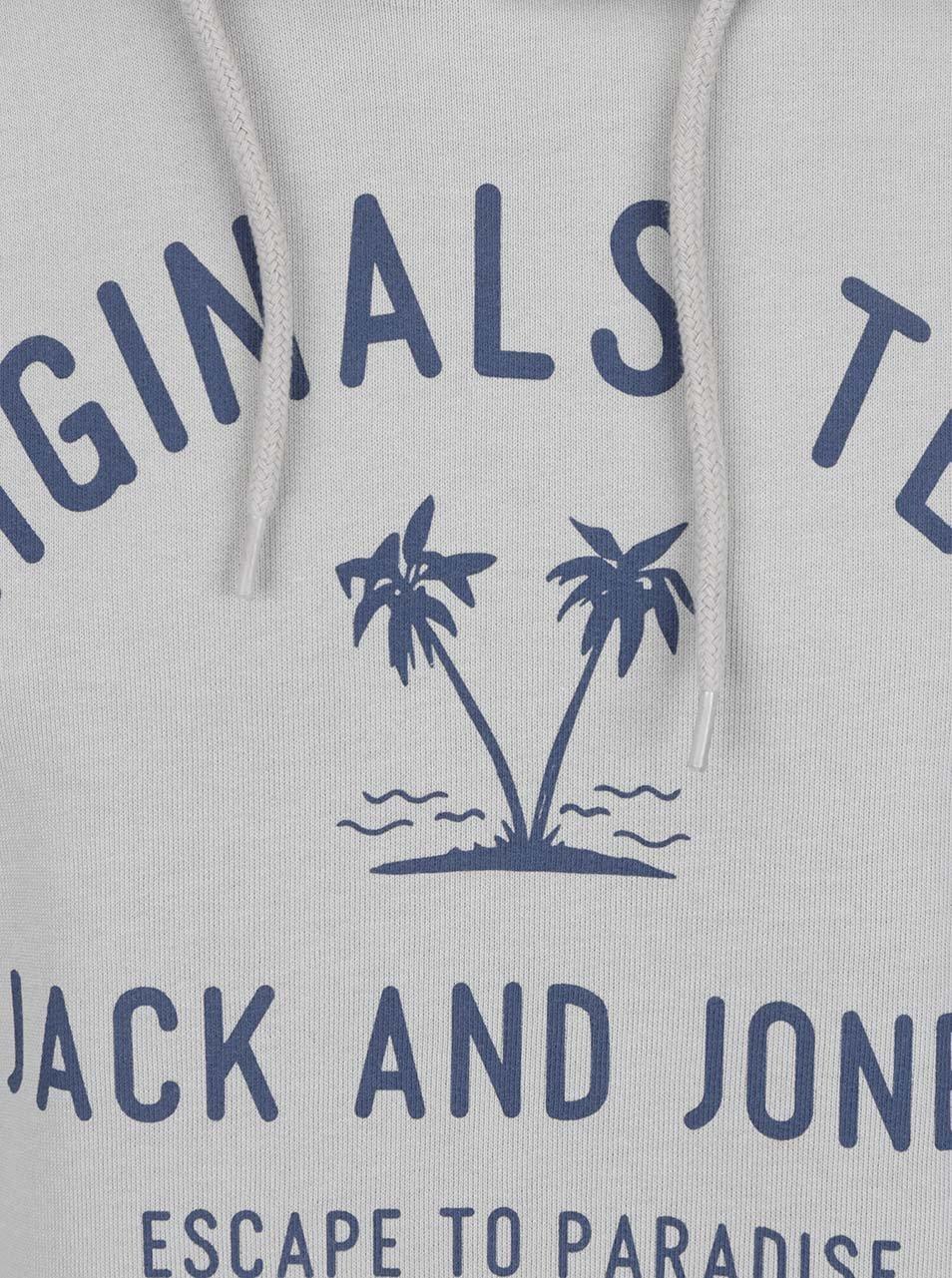 Šedá mikina s kapucí a potiskem Jack   Jones Tropical ... cc4ac82b9b
