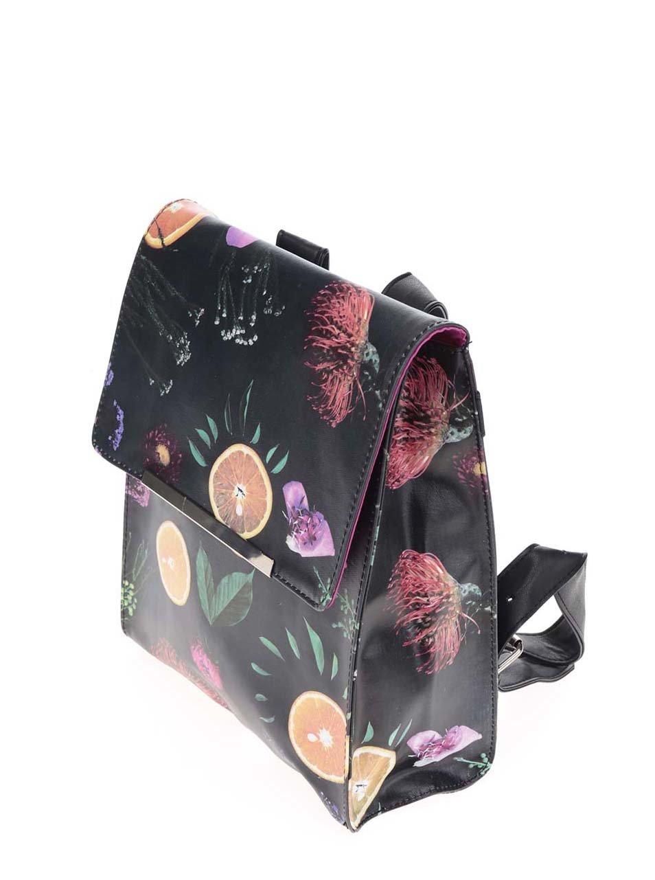 Černý batoh s motivem ovoce a květin Disaster Florence ... 3647d79002