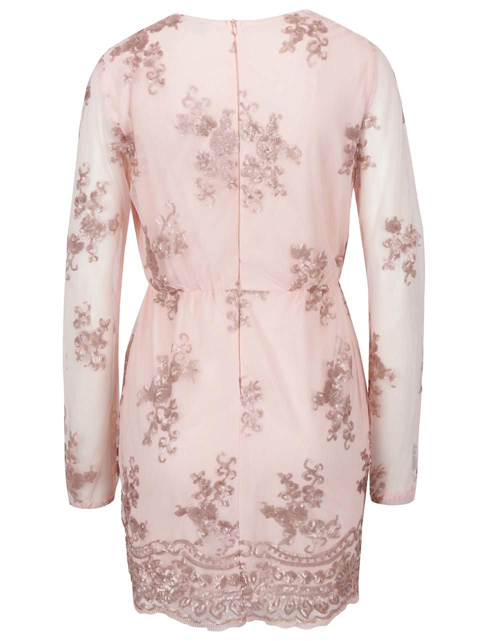 83e6e6605d85 Světle růžové šaty s krajkou a dlouhým rukávem AX Paris ...