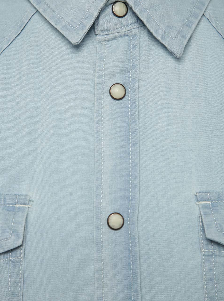 de90b17475 Svetlomodrá rifľová košeľa s krátkym rukávom Blend ...
