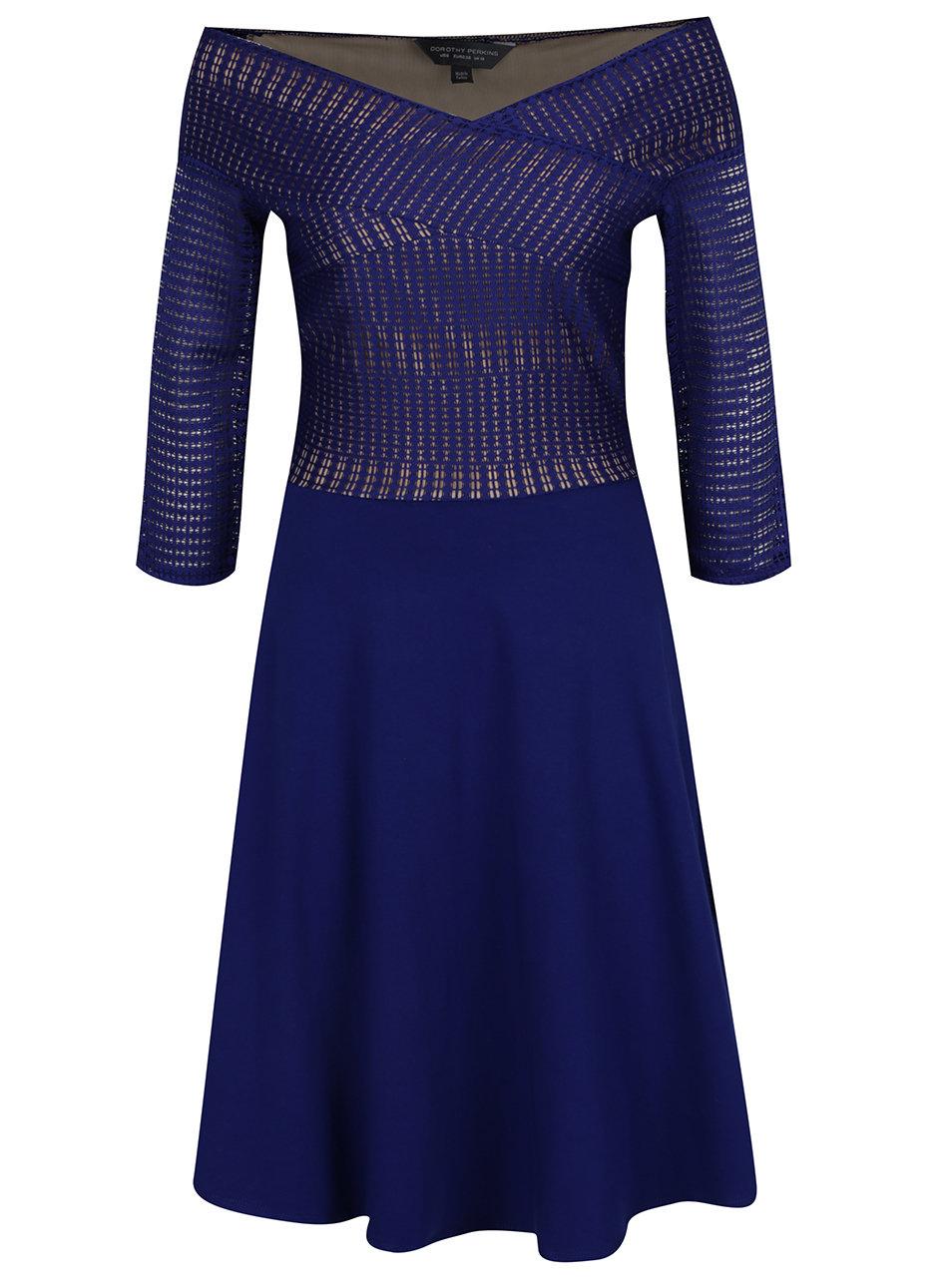 ba95fd5aae53 Tmavomodré šaty s odhalenými ramenami a 3 4 rukávom Dorothy Perkins Tall ...