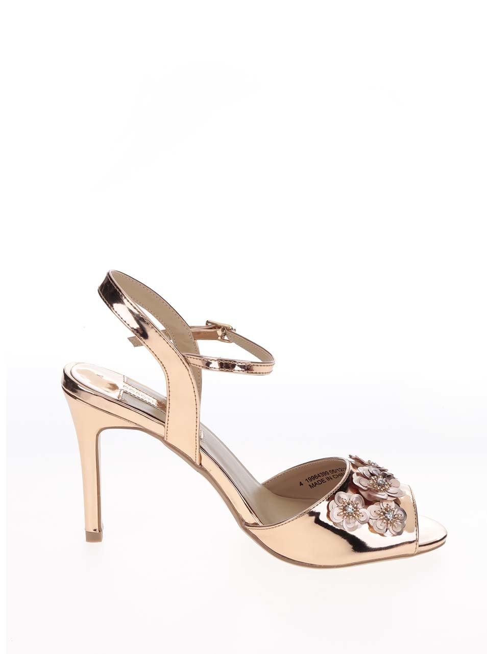 Sandálky ve zlaté barvě s ozdobnými flitry Dorothy Perkins ... d997d12140