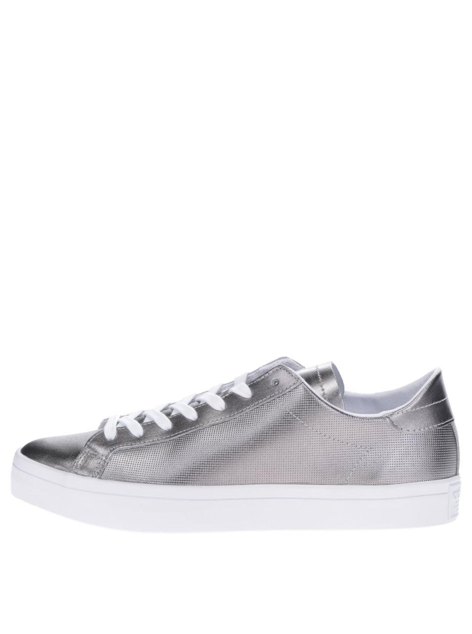 Dámské kožené tenisky ve stříbrné barvě adidas Originals Courtvantage ... 5dd31e22ad