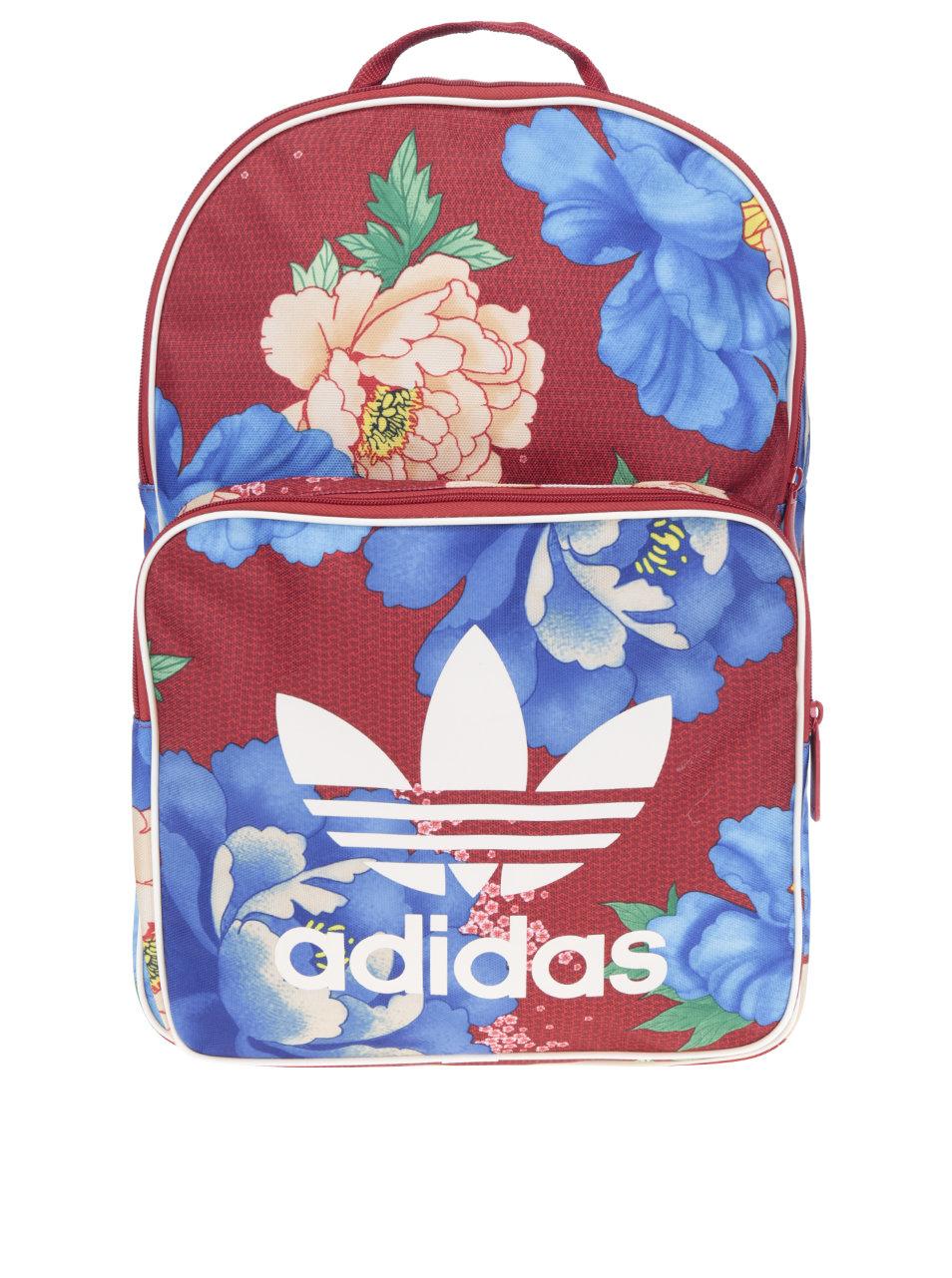 Červený dámský květovaný batoh adidas Originals ... 5a1df0e88b3