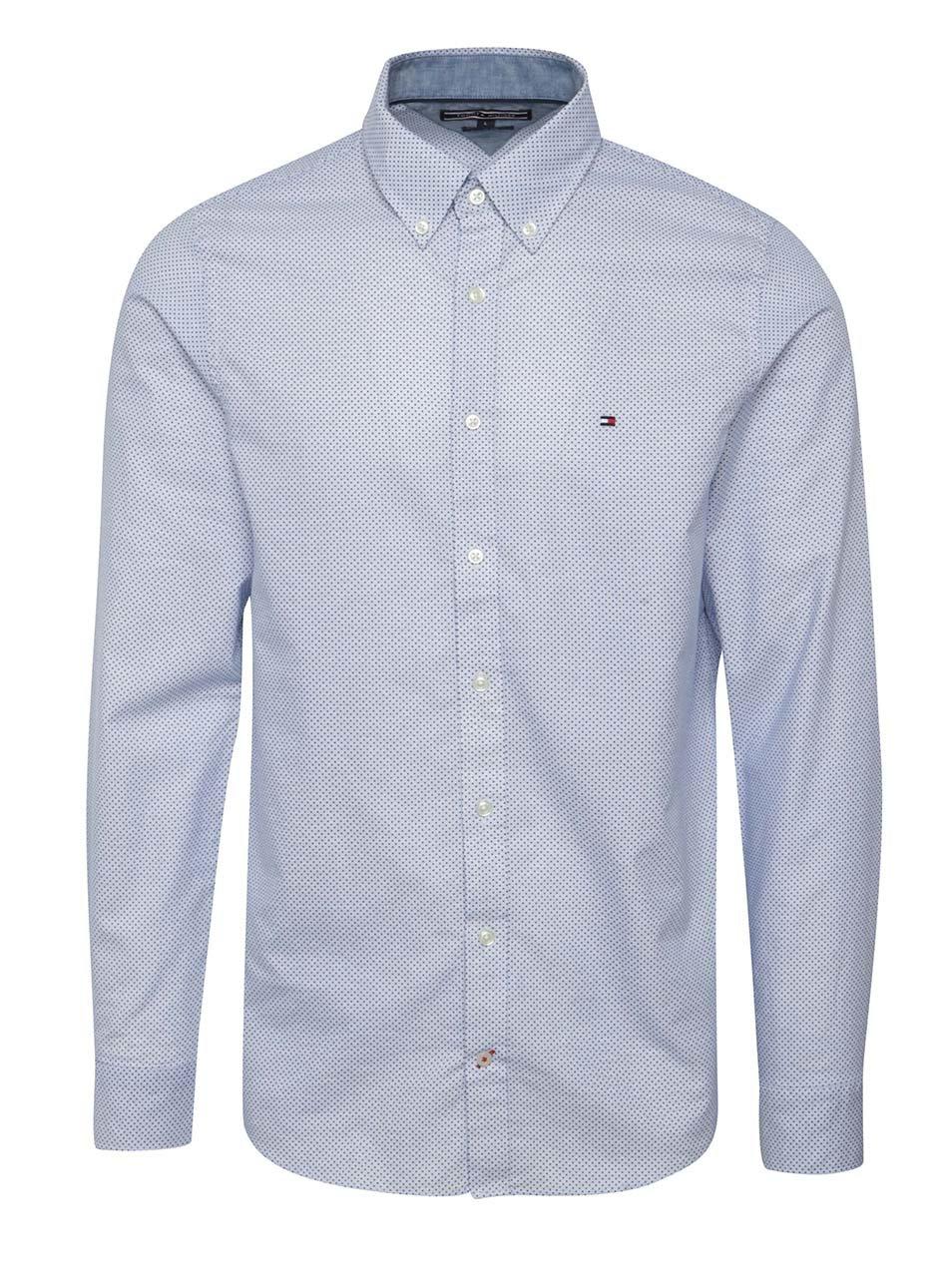 6a61450505 Bielo-modrá pánska vzorkovaná slim fit košeľa Tommy Hilfiger ...