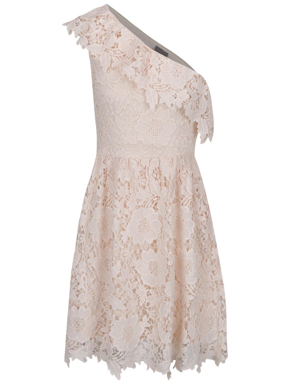 134de272ba0a Světle růžové krajkové šaty přes jedno rameno VERO MODA Thus ...