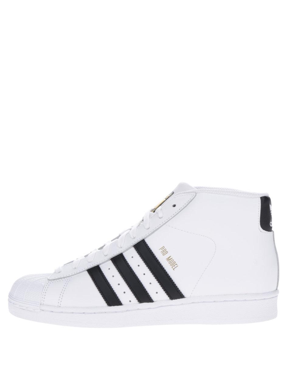 a369fc90d314 Biele pánske kožené členkové tenisky adidas Originals Pro Model Vintage ...