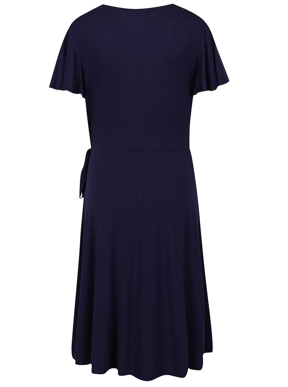 2fb6f6dde3a2 Tmavomodré šaty s prekladaným výstrihom Dorothy Perkins Tall ...