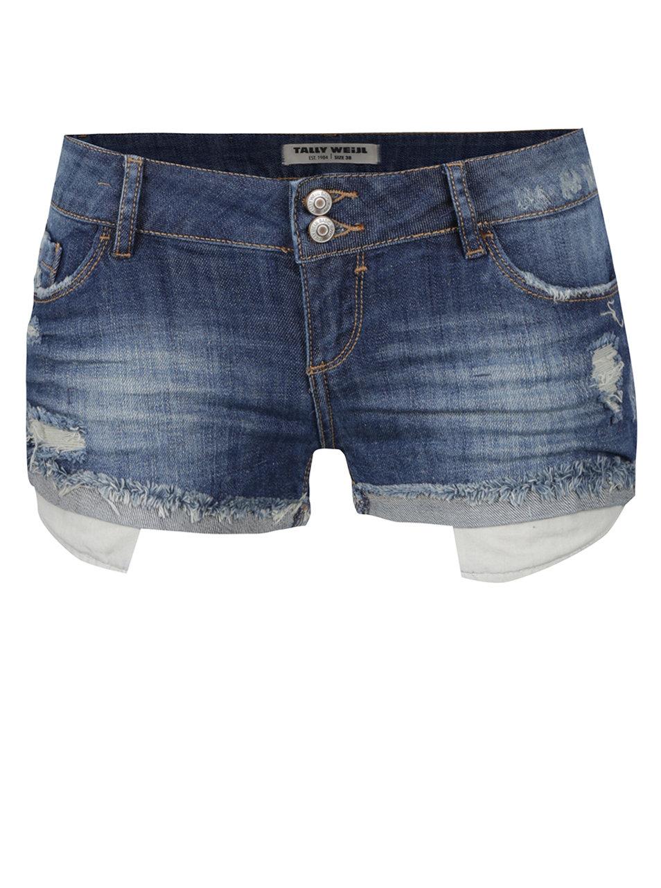 Tmavě modré džínové kraťasy s nízkým pasem a potrhaným efektem TALLY WEiJL  ... 2e5e58cc89