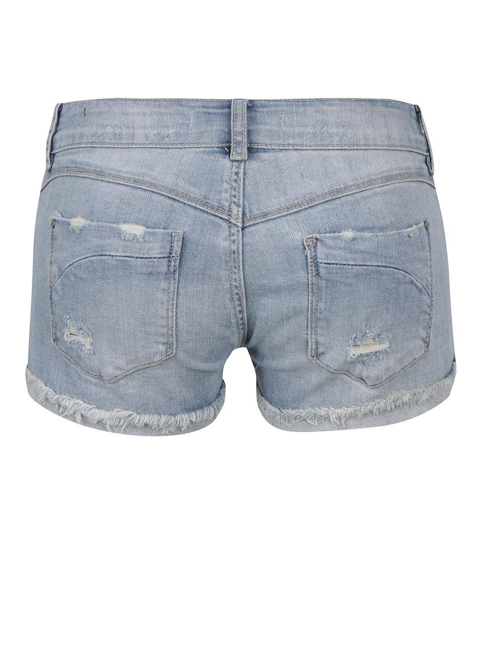 Modré džínové kraťasy s nízkým pasem a potrhaným efektem TALLY WEiJL ... 26bb42209d