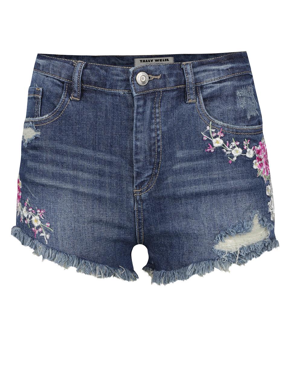Modré džínové kraťasy s vysokým pasem a výšivkami ve tvaru květin TALLY  WEiJL ... a6828e86b1