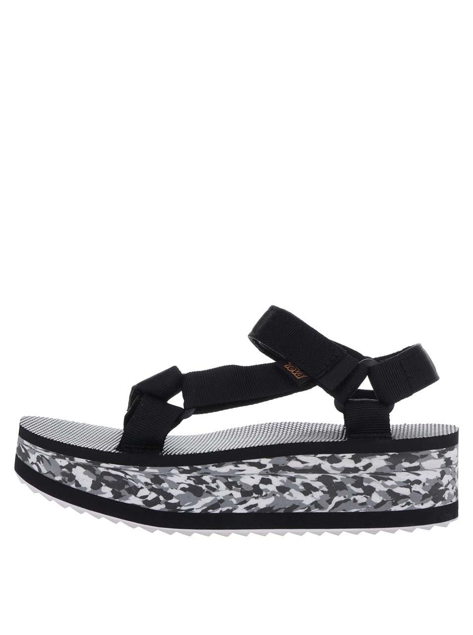 2e07a89aaa Čierno-biele dámske sandále na platforme Teva ...