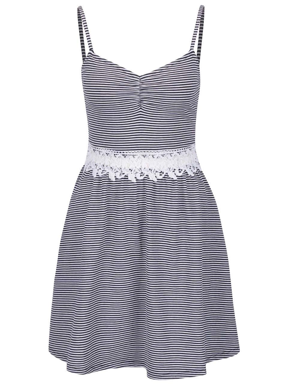 a7f31f404673 Modro-biele pruhované šaty s čipkou v páse TALLY WEiJL ...