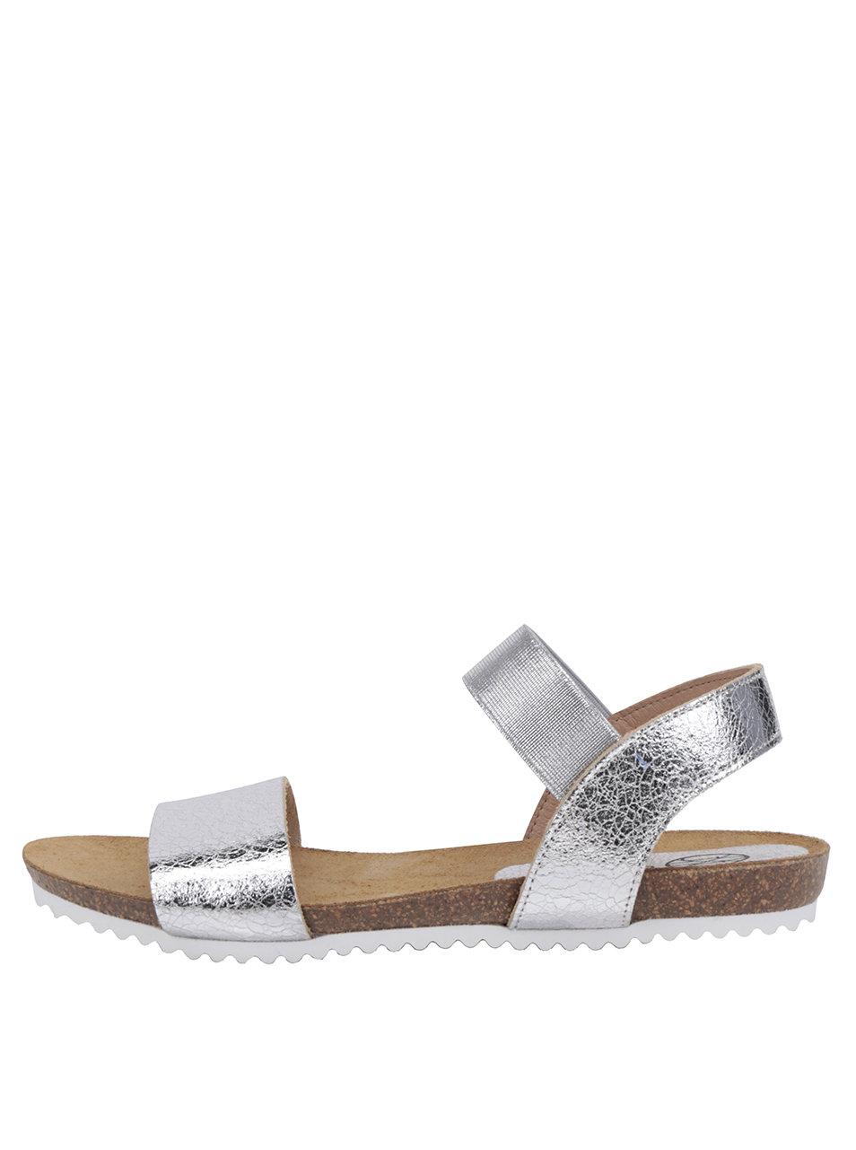 9156cce91a4 Dámské kožené sandály ve stříbrné barvě OJJU ...