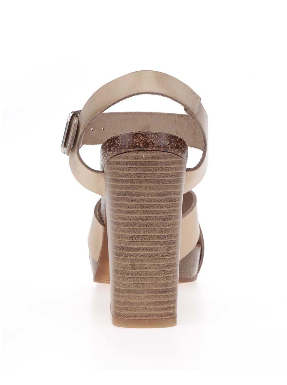 Béžové kožené sandálky na vysokém podpatku OJJU ... f92de88470