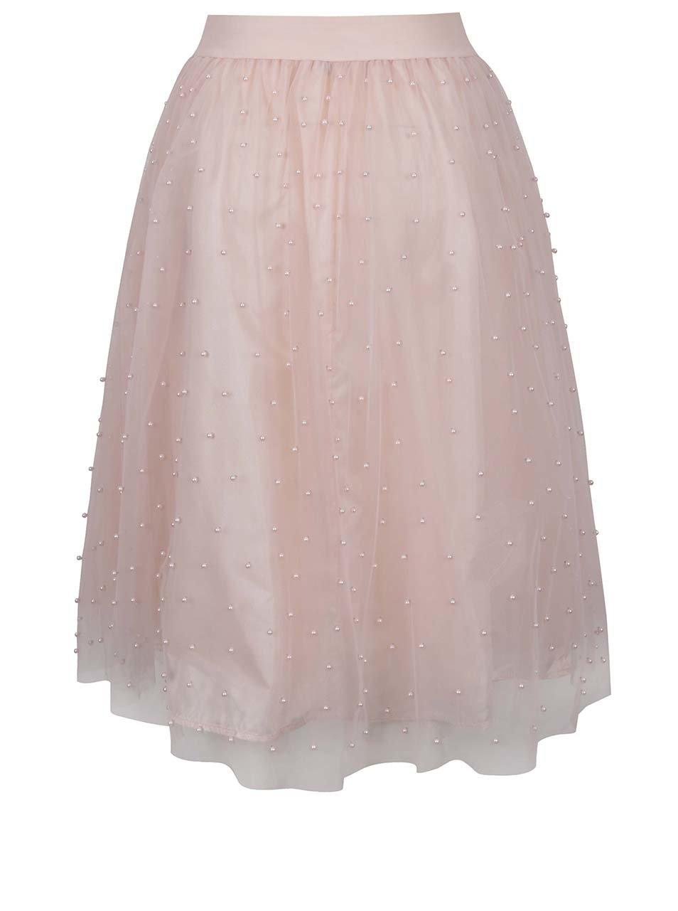 24b2f35aa971 Ružová midi sukňa s korálovou aplikáciou Little Mistress ...