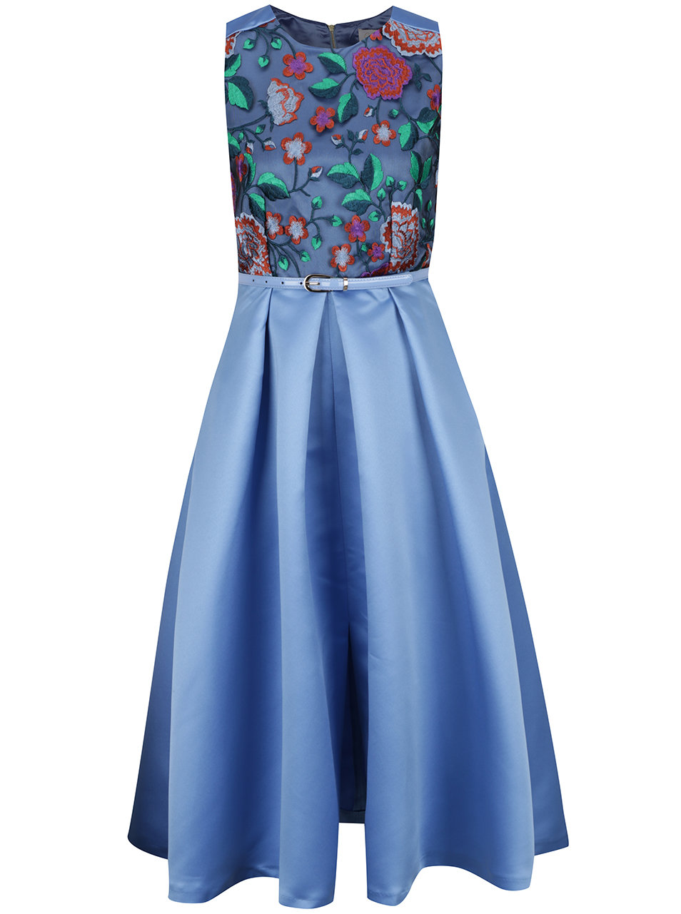 Modré midišaty s kvetovaným topom a opaskom Closet ... 2243976225e