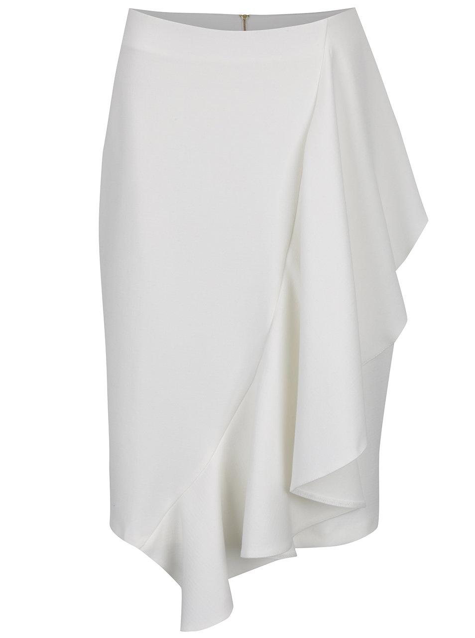 Krémová sukně s volánem Closet 2d35da722c