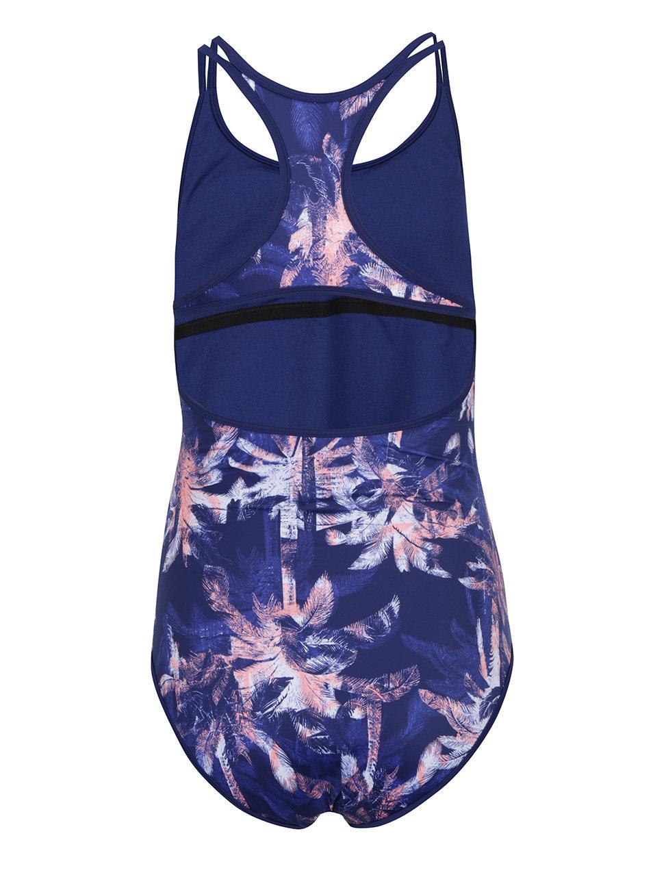 3a0ec096bf7 Modré dámské jednodílné plavky s tropickým vzorem Roxy Kir ...