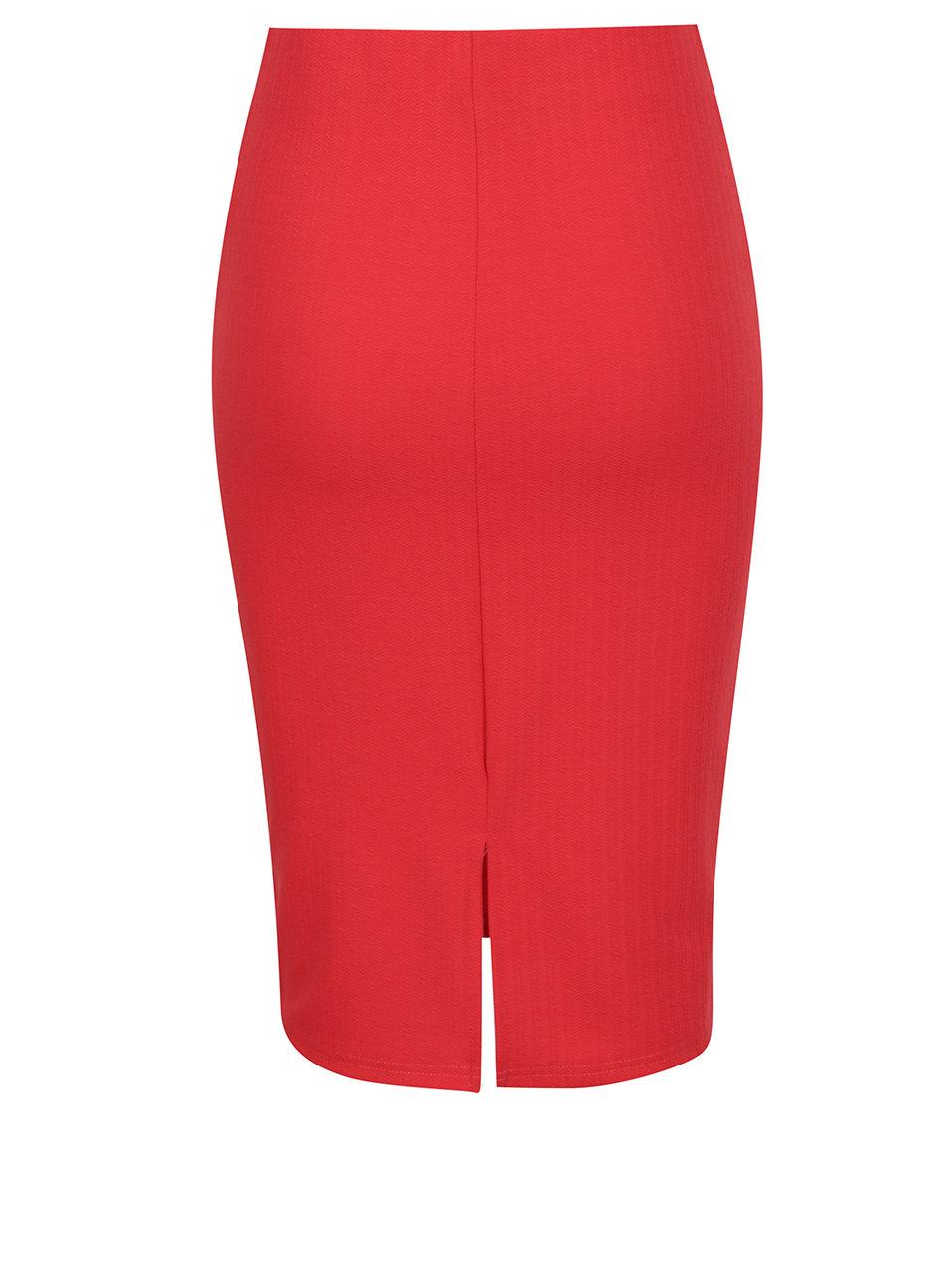 a97fe8c0798 Červená pouzdrová sukně s jemným vzorem VERO MODA Ellie ...