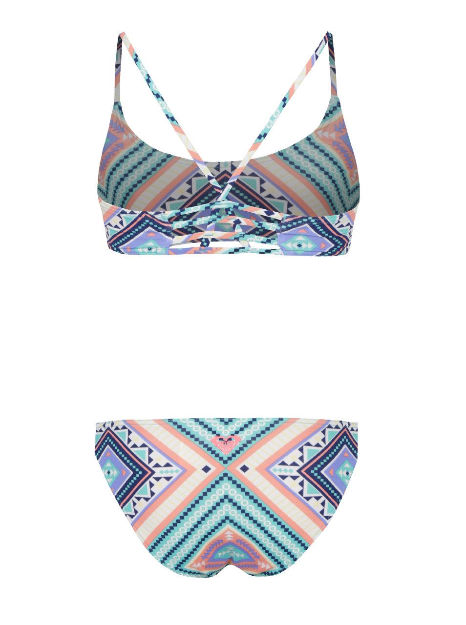 1da72c339 Krémovo-zelené dievčenské dvojdielne plavky Roxy Hippie | ZOOT.sk