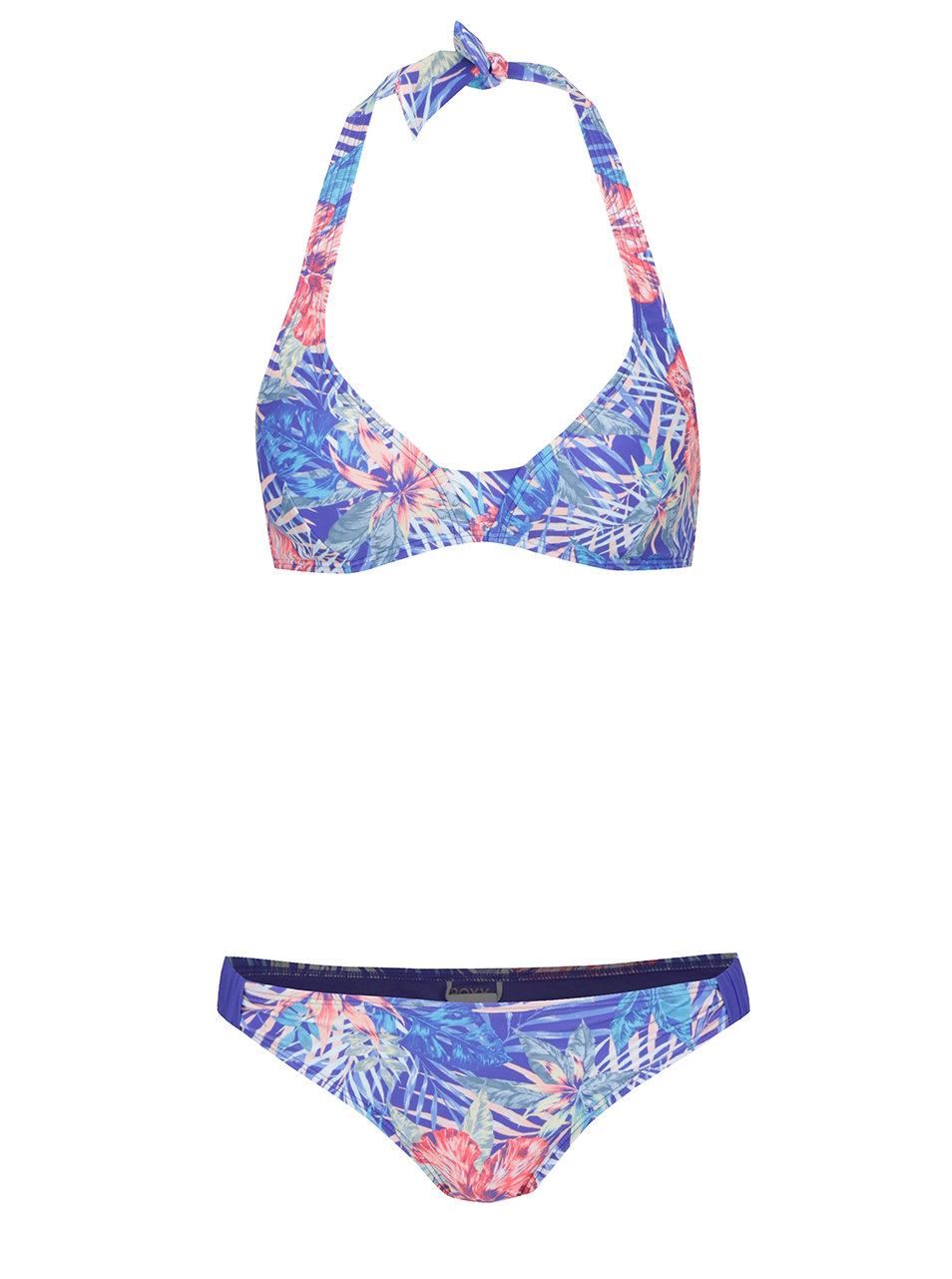 becb76bd38 Modré dámské dvoudílné plavky s tropickým vzorem Roxy Mix ...