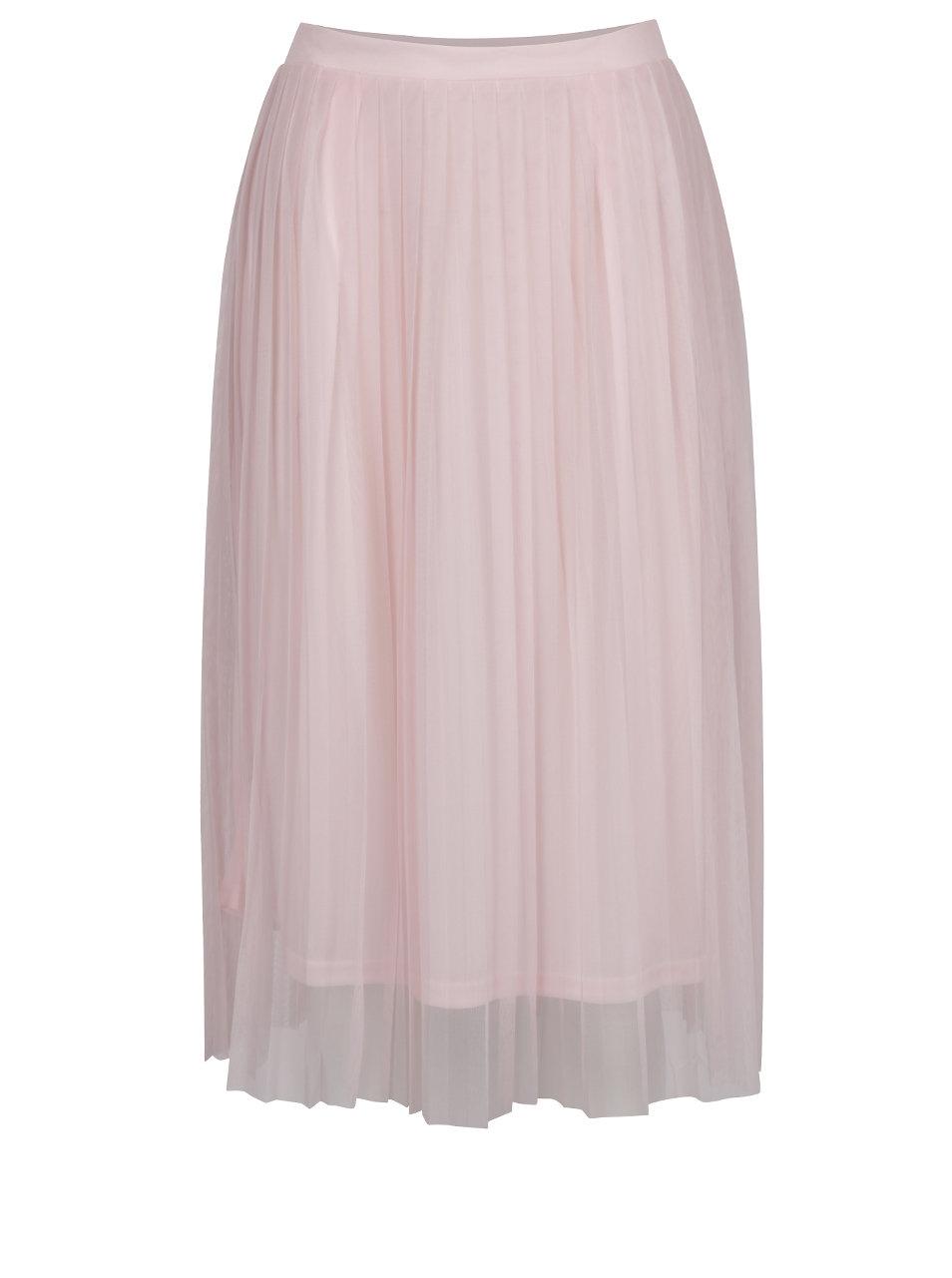 Ružová tylová plisovaná midi sukňa ONLY Fiona ... 7ceda56bbc