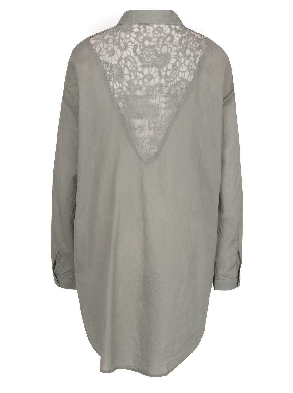 4360dceb9668 Khaki dámska voľná košeľa s čipkou na chrbte Broadway Fairlie ...