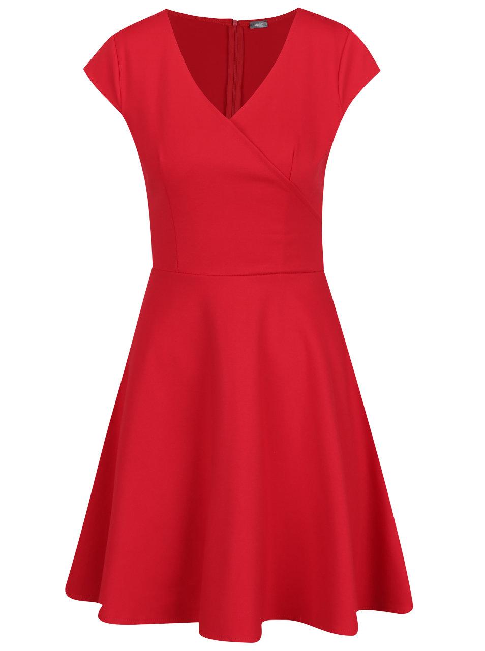 Červené šaty s překládaným výstřihem ZOOT ... ce390ffe4e