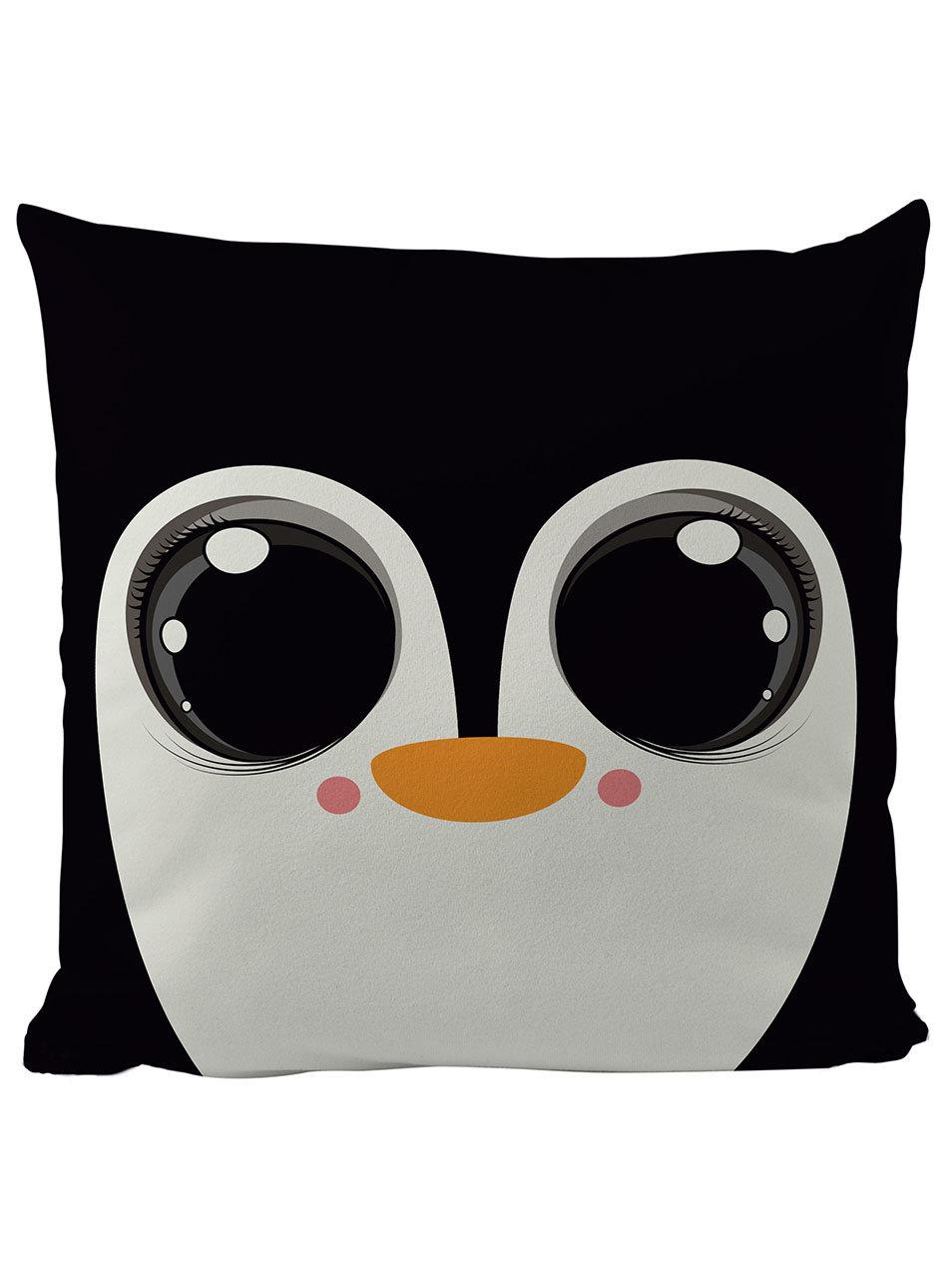 Krémovo-černý polštář s motivem tučňáka Butter Kings ... bffec15276