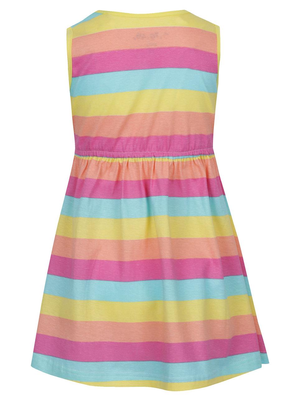 Žlto-ružové dievčenské pruhované šaty s vreckami 5.10.15.  0aa70005a7e