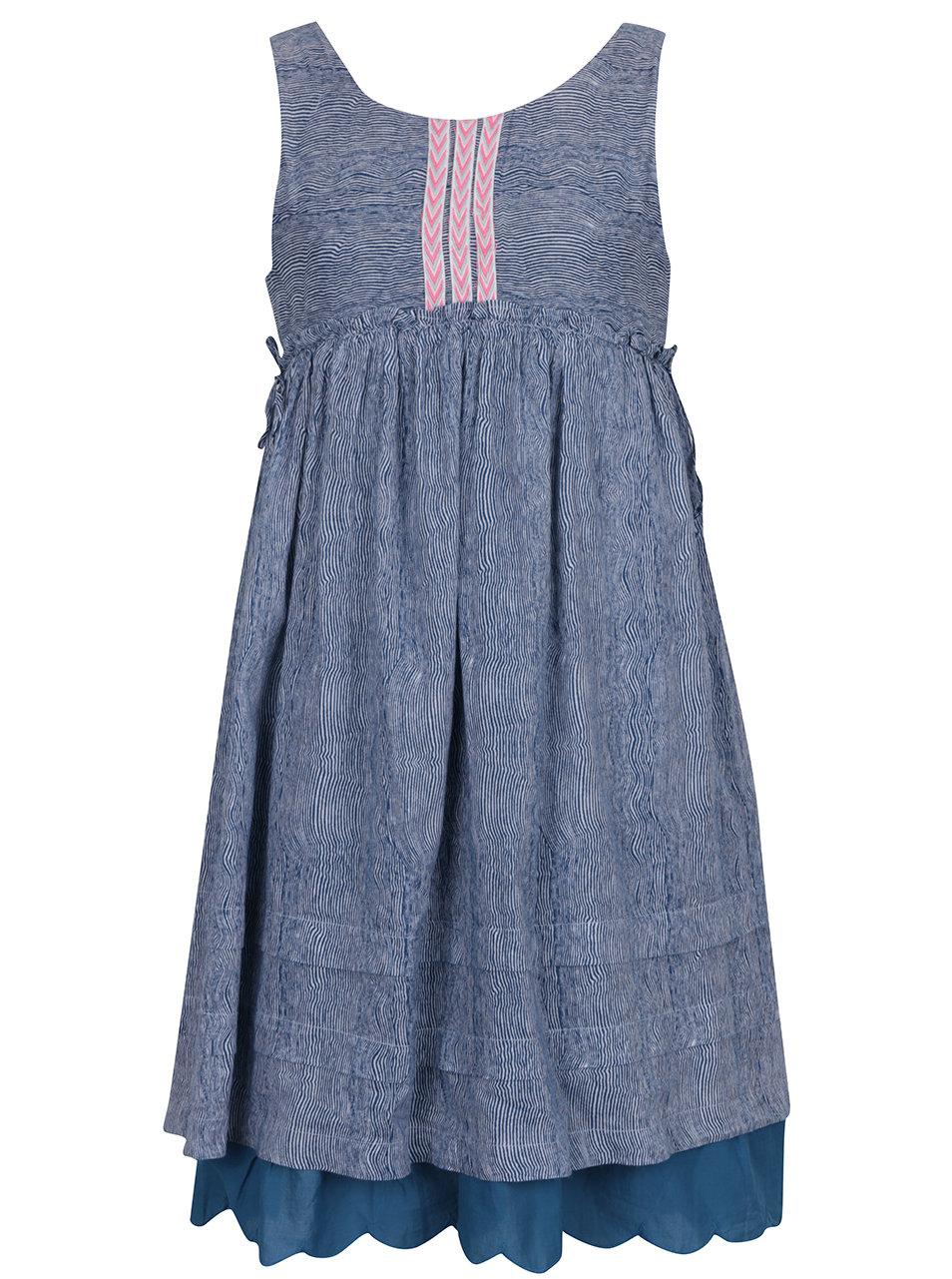 Modré holčičí vzorované dlouhé šaty 5.10.15.  1dee6795d3
