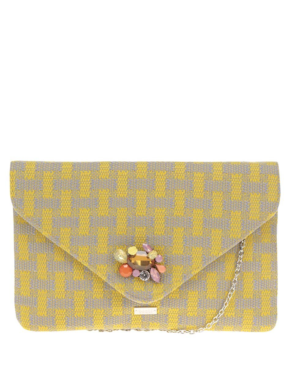 Šedo-žluté vzorované psaníčko crossbody kabelka s broží Nalí ... 1416a27edd4
