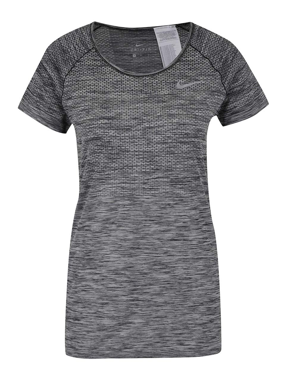 Sivé dámske melírované funkčné tričko s krátkym rukávom Nike ... 4300da00667