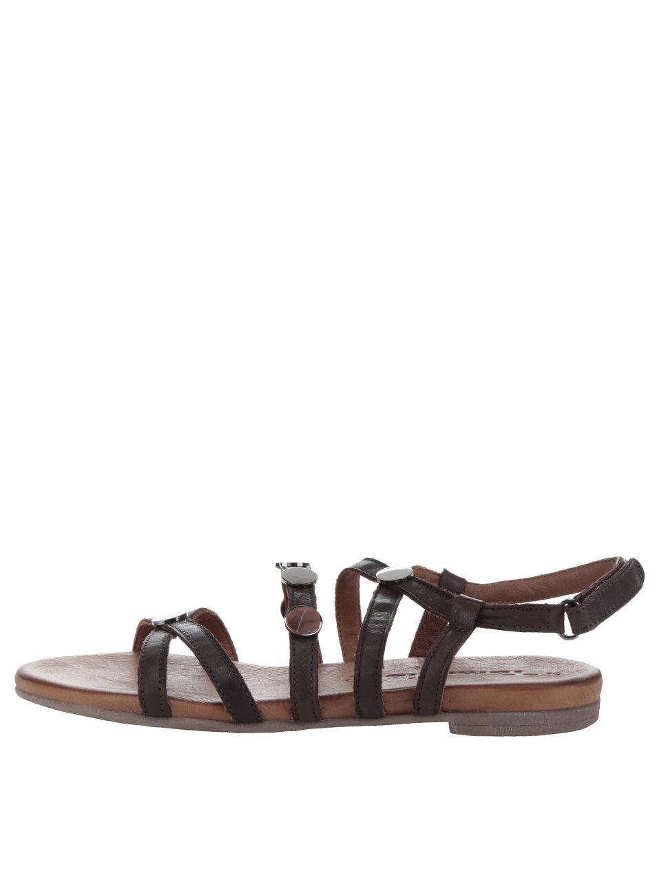 0bf2de4d5320 Tmavohnedé kožené sandále s detailmi v sivej farbe Tamaris ...