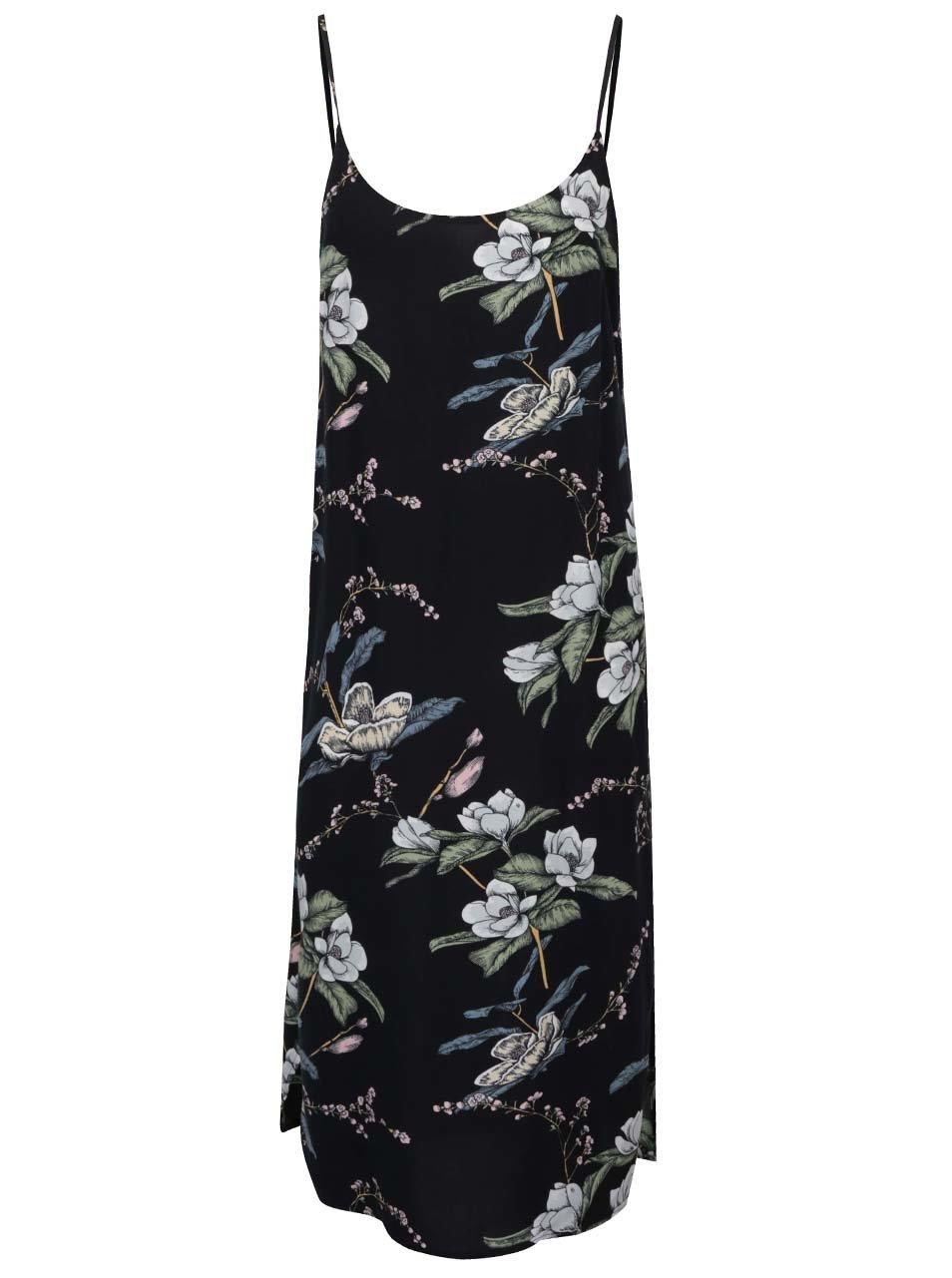 9bfaaf4c189b Čierne kvetované šaty na ramienka ONLY Nova ...