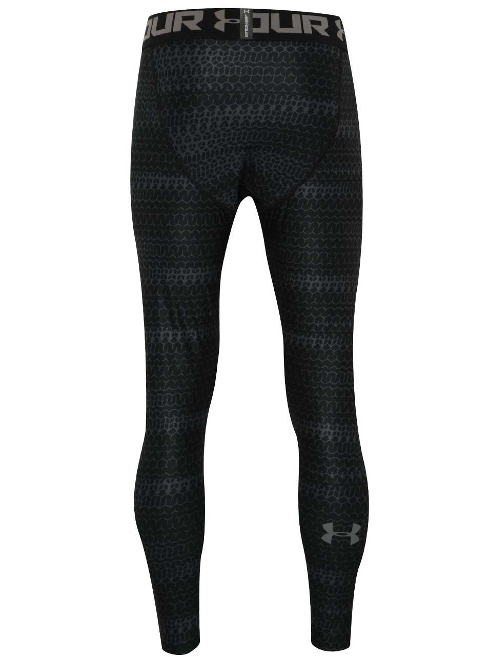 Šedo-černé pánské vzorované legíny Under Armour HG Armour 2.0 Novelty  Legging ... 5aca6734cdb