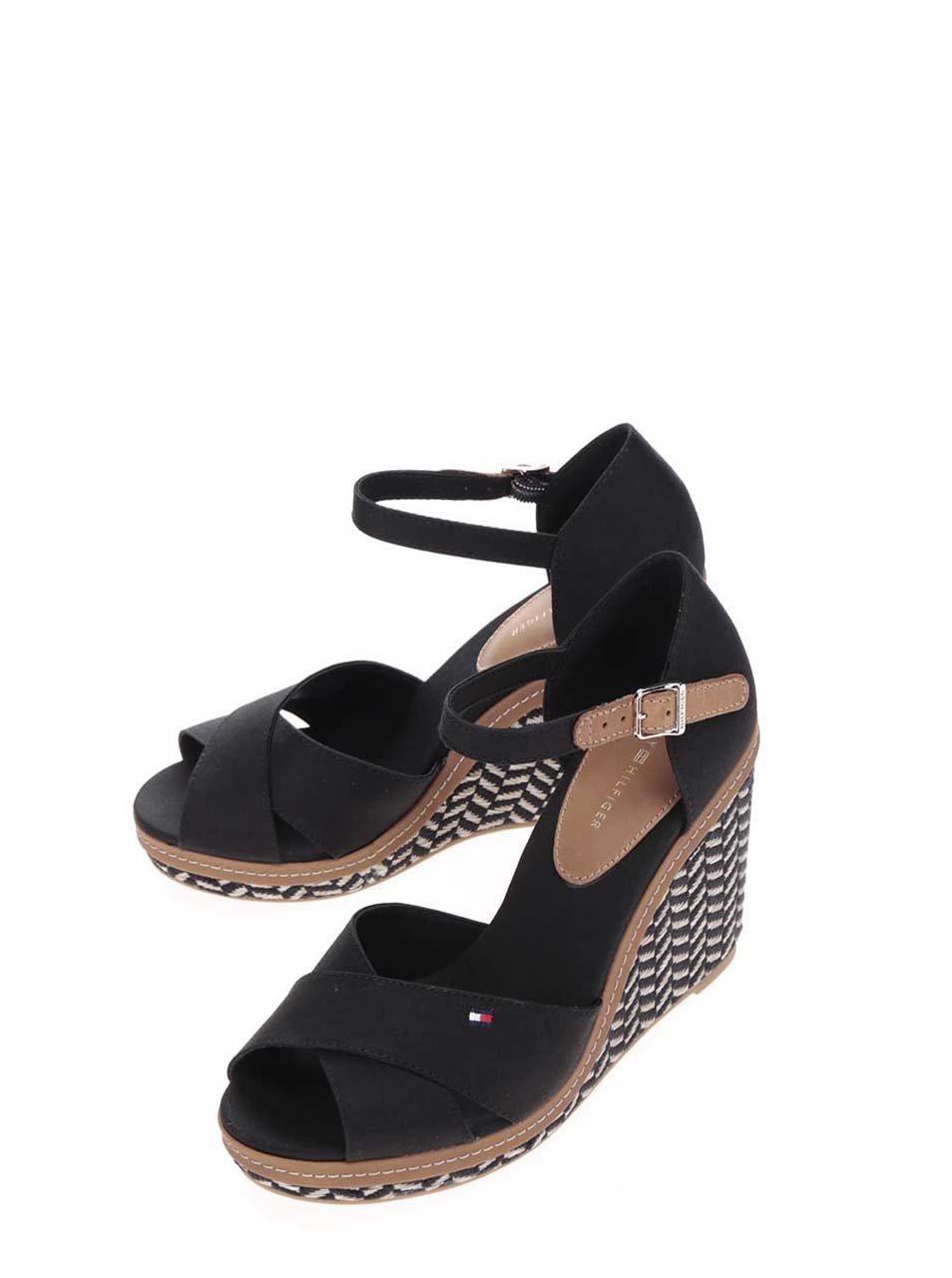 Černé dámské sandály na klínku Tommy Hilfiger ... 7c0b6febfb
