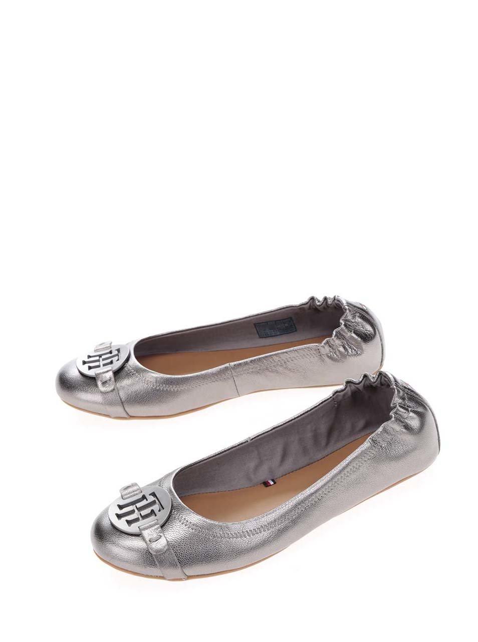 30459234017 Tmavě šedé metalické kožené baleríny Tommy Hilfiger ...