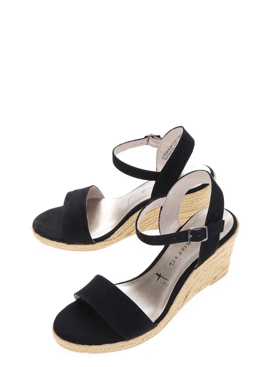 4f7ef276c2b88 Čierne remienkové sandále v semišovej úprave na platforme Tamaris ...