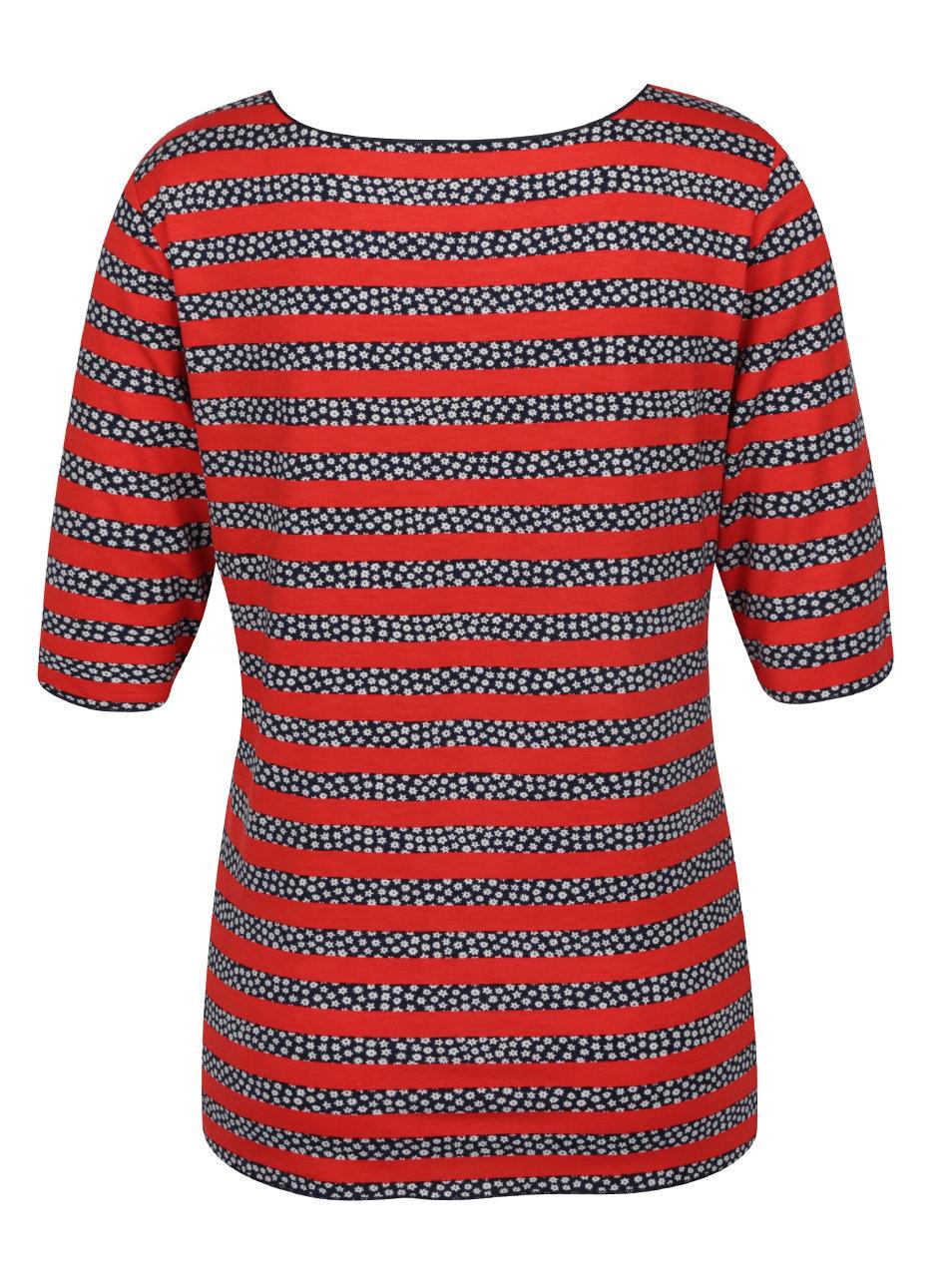 947e2bca58 Modro-červené dámske prúžkované tričko Tommy Hilfiger ...