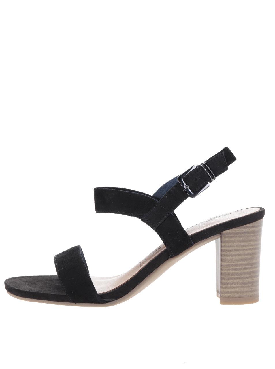 Černé páskové semišové sandálky na podpatku Tamaris ... e9ee2c48df