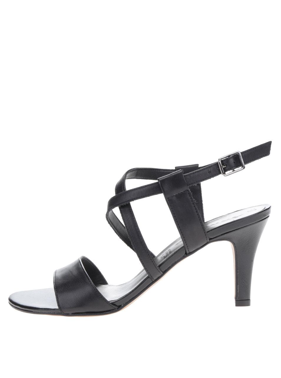 Čierne kožené sandále na podpätku s prekríženými remienkami Tamaris ... 0a1efffb7e4