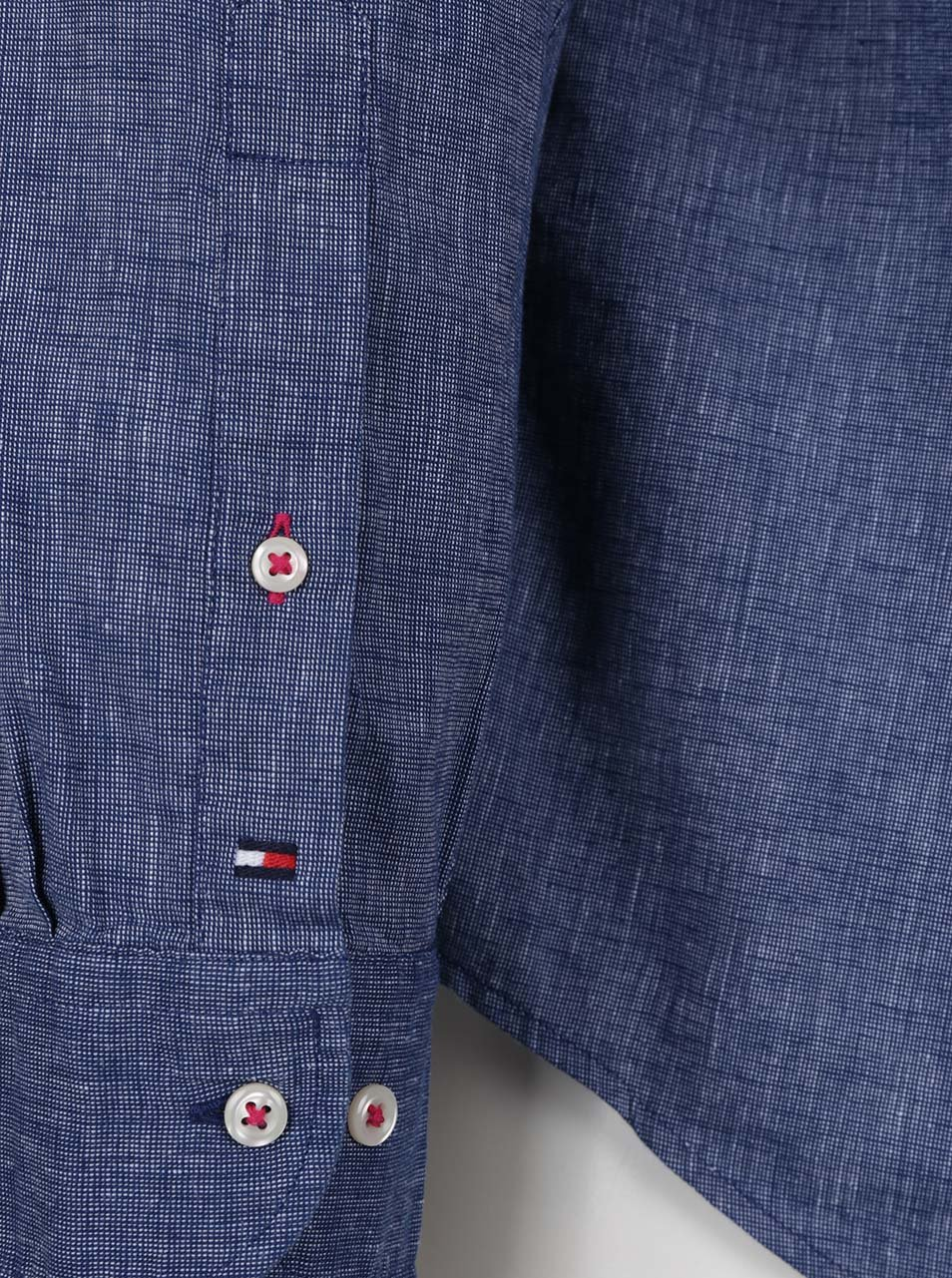 Modrá pánská lněná košile Tommy Hilfiger ... def4f8589a
