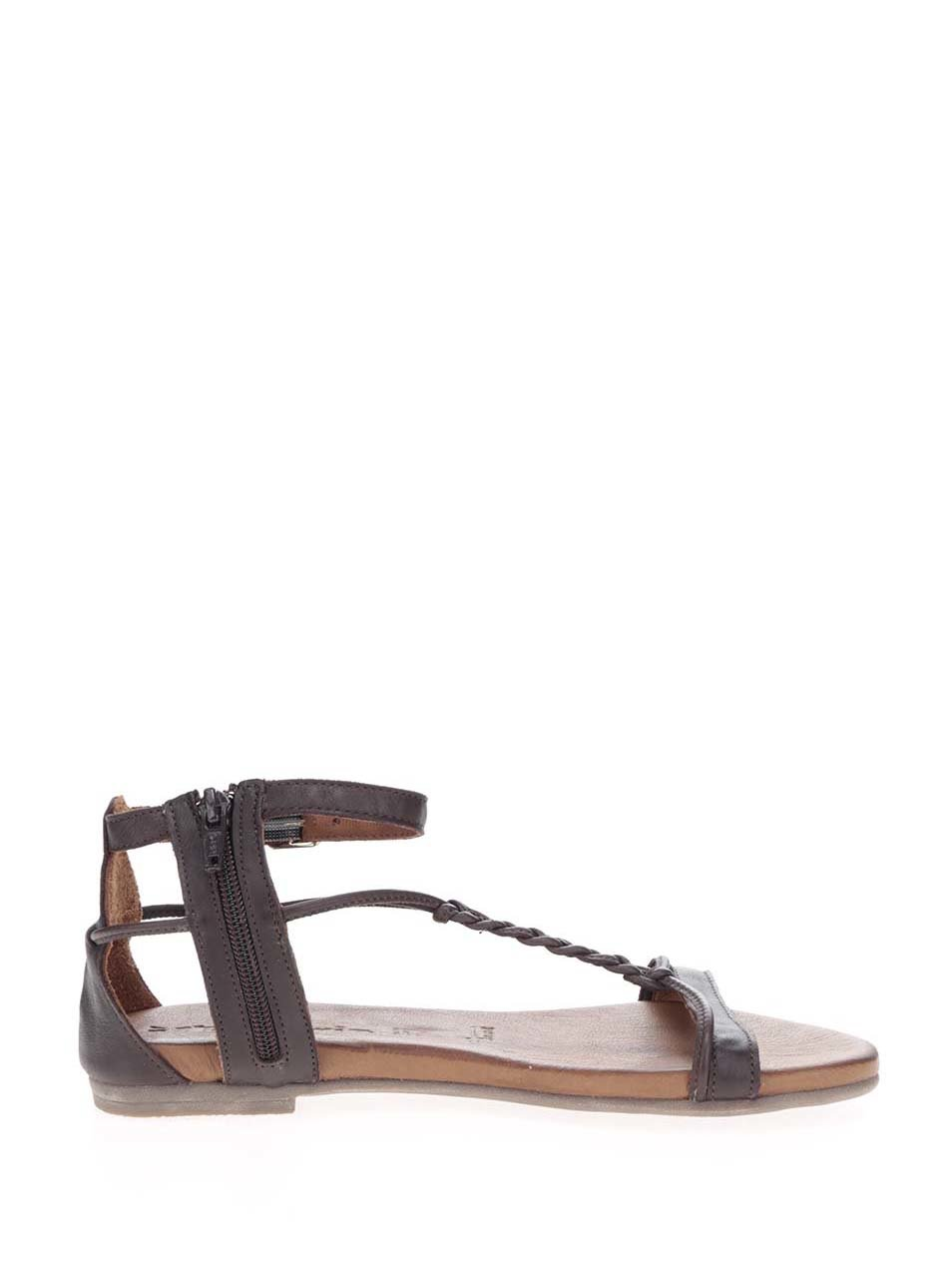 225b74fdc6cf Tmavohnedé kožené sandále Tamaris ...
