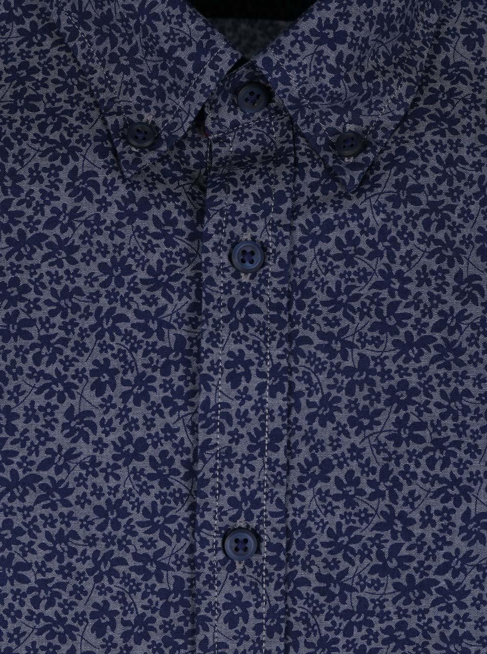 Tmavomodrá pánska vzorovaná košeľa s krátkym rukávom Tommy Hilfiger ... 891ecc2e501