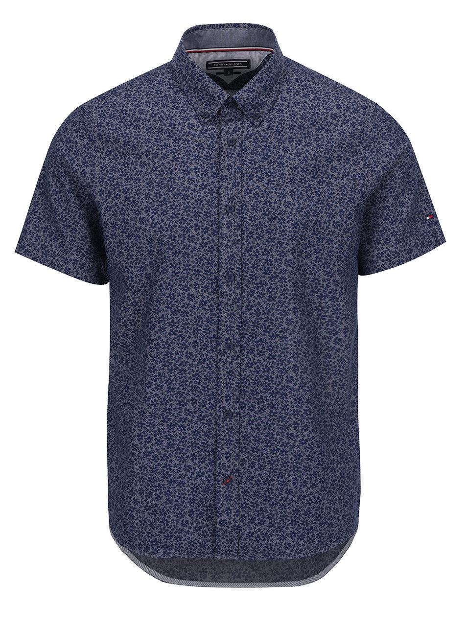 0ac90eb6e655 Tmavomodrá pánska vzorovaná košeľa s krátkym rukávom Tommy Hilfiger ...